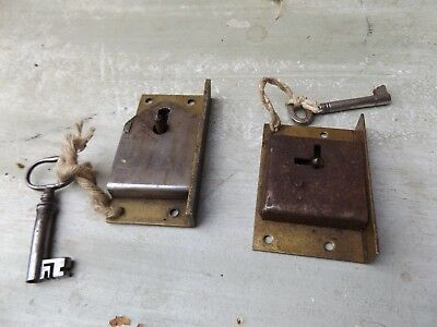 Small Antique/Vintage Brass Box Lock with Key  x 2 o&S