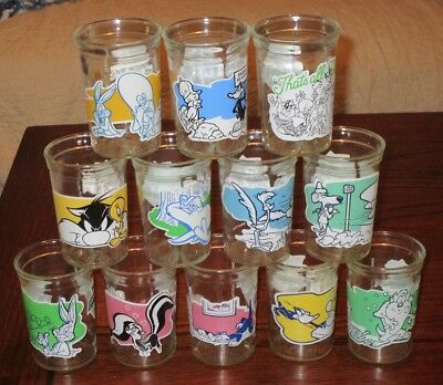 Complete Set 12 1994 Welch's Looney Toon Jelly Glasses  Warner Bros.