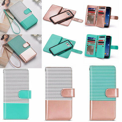 For Apple/Samsung Luxury Magnetic Leather Removable Wallet Flip Card Case Cover