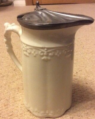 Vintage Cream Jug - Hinged Pewter Lid with Scroll Feature