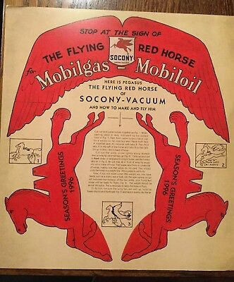 Mobil Oil Ad The Flying Red Horse Pegasus Socony Vacuum 1996 PAPER AIRPLANE RARE