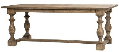 """84"""" Abretta Dining Table Reclaimed Pine Solid Wood Classic Trestle Base Antique"""