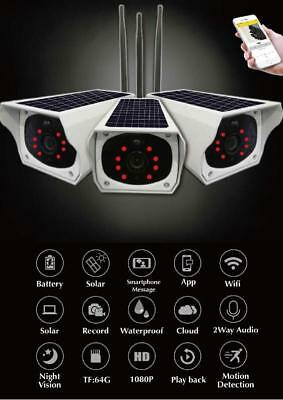 Solar Powered Wireless Wi-Fi HD Night Vision Security Camera with Battery