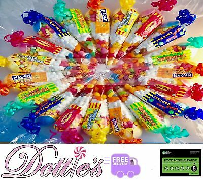 Large Pre Filled Sweet Cones Ideal Kids Childrens Party Bags Free Stickers.