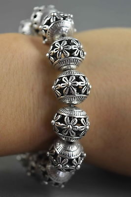 China Collectable Handwork Miao Silver Carve Flower Rattan Bead Usable Bracelet