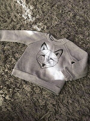 Tobias And The Bear Grey Fox Sweatshirt - 18-24 Months - Geometric