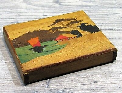 "VTG ""SECRET BOX"" Inlaid Wood & Painted Scenes, Signed Japan 1954"