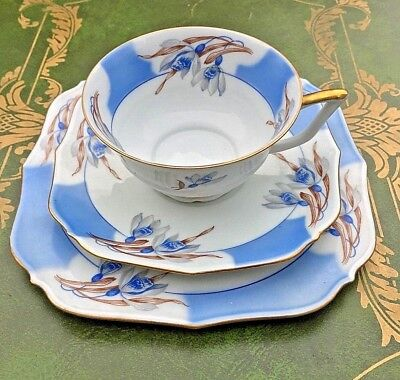 Blue Gold Floral Tea Cup , Saucer and Cake Plate 3 Piece Bareuther Bavaria China