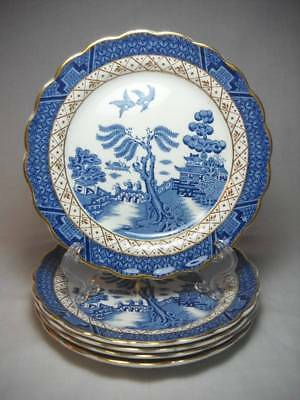 """5 Booths Real Old Willow 6 1/4"""" Blue Bread Plates A8025 Excellent"""