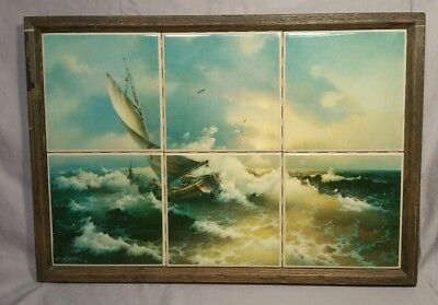 Vtg Framed Ceramic Tile Mosaic 6 Panel Hand Painted Wall Art Mural Nautical Boat