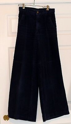 Vintage BELL BOTTOMS PANTS Pentimento NAVY BLUE CORDUROY Early 1970s GROOVY!