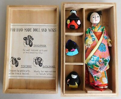 Vintage Katsuraningyo with three wigs Japanese Doll in a Box