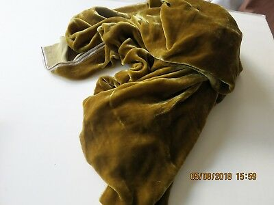 Antique Remnant Fine Silk Velvet Antique Gold Color  Millinery Dress Quilt15X10