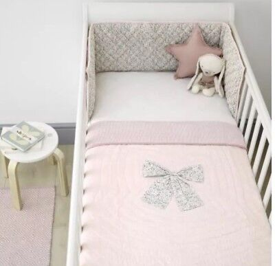 Mamas And Papas Millie And Boris Pink Floral Quilt And Bumper Set