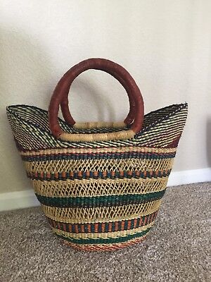 Handmade African Market Basket with Handles - Multicolored