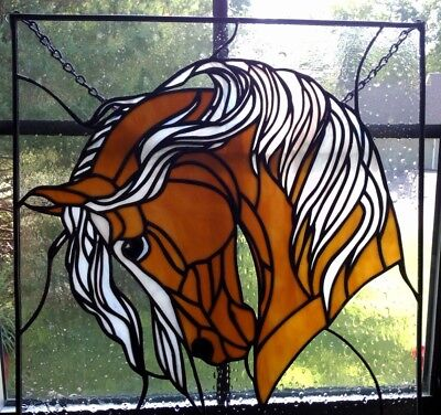 Stained glass horse window panel- On Sale thru 4th !!