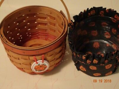 Longaberger Small Pumpkin Basket With Liner, Protector,charm