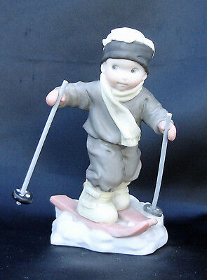 Pretty As Picture Boy Skiing Figurine I'm On My Wat To You 375896 Free USA Ship