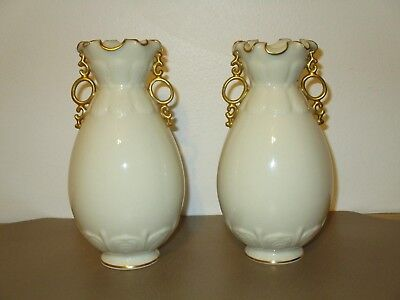 2 Antique Lenox Vases Ivory Trimmed In Gold/green Wreath/signed/ Mint