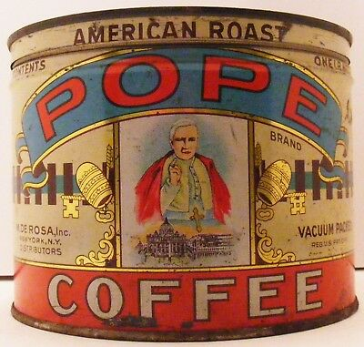 Scarce Vintage Pope Coffee Tin Picts Pope 1 Pound Keywind  ,am3887