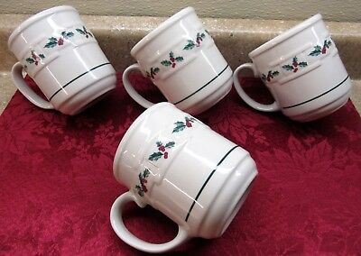 (4)  Longaberger Pottery Woven Traditions Christmas Holly Berry Mugs Coffee Cups