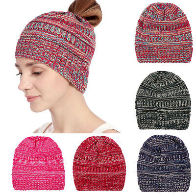 AM_ Women's Ponytail Beanie Cap Winter Soft Stretch Cable Knit High Bun Hat Delu