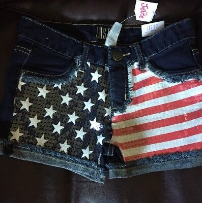 NEW JUSTICE Girls Size 14 Jean Shorts Sequin Denim American Flag Red White Blue