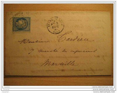 1872 ARLES S RHONE A Marseille 464 Cancel 25c Timbre Sello Stamp Sobre Cover Let