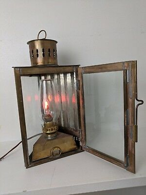 Brass & Glass wall or hanging Lantern/Sconce/lamp.  Electric.  Maritime-style