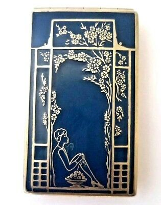 Vintage Art Deco Champleve Blue Enameled Sitting Lady Glove Vanity Compact.
