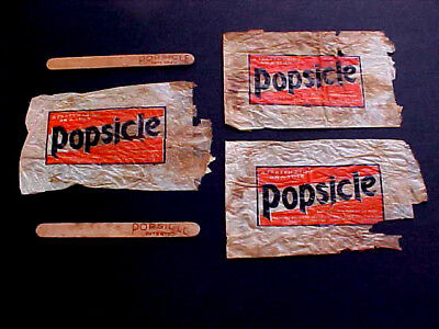 """3 Original Antique Popsicle  Bags + 2 Sticks """"first Issue"""" Vintage Advertising"""