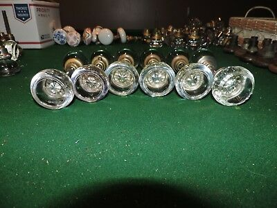 6 Pair Antique Round Glass Door Knobs