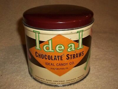 """VINTAGE IDEAL CHOCOLATE STRAWS TIN CAN ~ 1 lb. ~ 3 7/8"""" HIGH ~ """"FREE SHIPPING"""""""