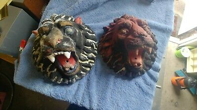 2 Hand Painted Cement Wall Mount Lion Heads Garden Art Gothic Deco
