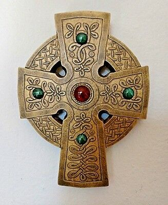 Celtic Cross of Iona wall plaque, resin with Amber and Malachite gems