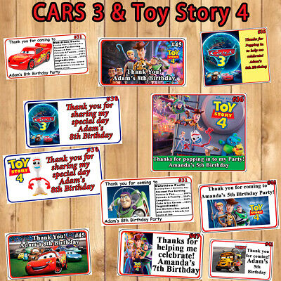 Disney CARS 3 Or Toy Story Birthday Favor Stickers Candy Labels Personalized