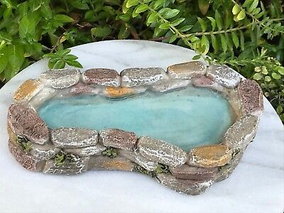 Miniature Dollhouse FAIRY GARDEN Accessories ~ Mini Resin Faux Stone Pond ~ NEW
