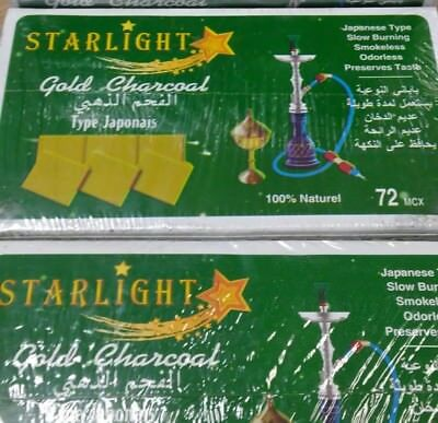 72 Pcs STARLIGHT GOLD Hookah instant Charcoal Quick Lite Shisha coal Incense
