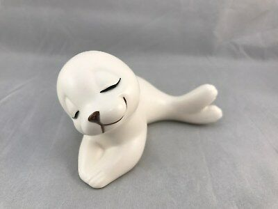 Vintage White Baby Seal Pup Figurine Made in Mexico Ceramic by Oxford Cute