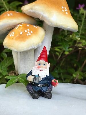 "Miniature Dollhouse FAIRY GARDEN  Accessories ~ TINY 1¼"" Tall Gnome w Mug Apple"