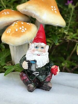 Miniature Dollhouse FAIRY GARDEN Accessories ~ Mini Gnome Figurine w Mug & Apple