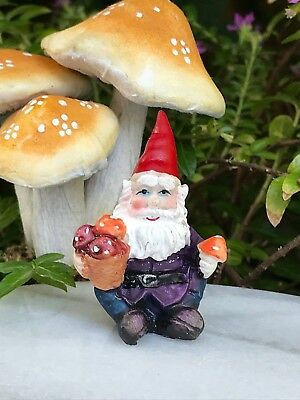 Miniature Dollhouse FAIRY GARDEN Accessories ~ Mini Gnome Figurine w Mushrooms