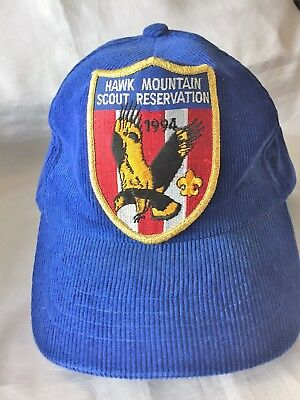 1994 Vintage Cap Hat Hawk Mountain Boy Scout Reservation Corduroy Blue Patch BSA