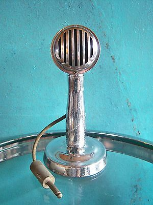 Vintage 1940's American RC crystal microphone old used antique w AG desk stand