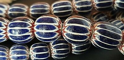 Old Sumba Blue & White Glass Beads …beautiful accent / collection piece