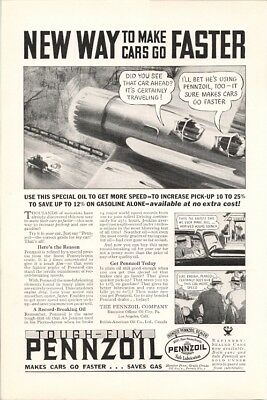 Pennzoil New Way to Make Cars Go Faster Vintage Ad 1940s