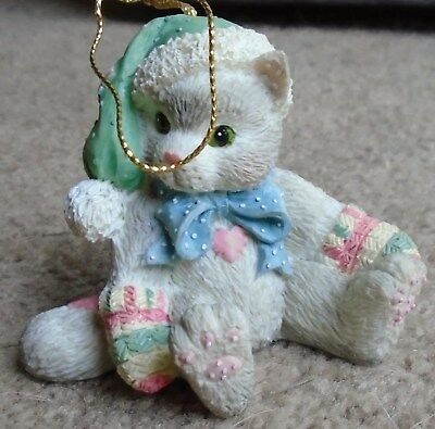 New Enesco Calico Kittens Kitten With Green Hat Hanging Ornament  623814