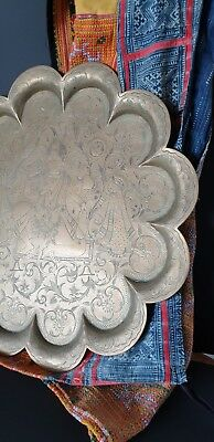 Old Chinese Brass Serving Tray with Scalloped Edges …beautiful accent / collecti