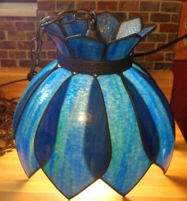 Vintage Tiffany Style Stained Glass Swag Hanging Ceiling Light Lamp Blue Tulip