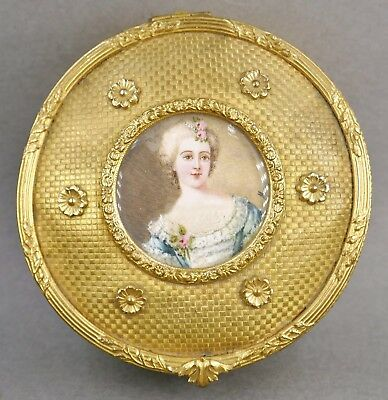 Fine Antique French Gilt Gold Hand Painted Miniature Portrait Painting Table Box